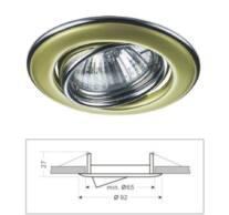 Led beépíthető spot lámpatest préselt acéllemezből, billenős, arany-króm színű, Mr16/GU5.3 foglalattal csomagolva, IP20.