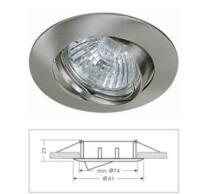 Led beépíthető spot lámpatest alumíniumból, billenős, matt króm színű, Mr16/GU5.3 foglalattal csomagolva, IP20.