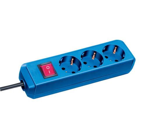 Eco-Line kapcsolós elosztó 3 dugaszhelyes kék 1,5m H05VV-F 3G1,0