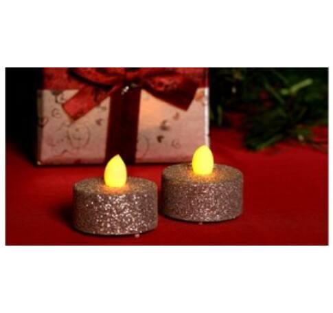 LED-es teamécses szett, ezüst glitter