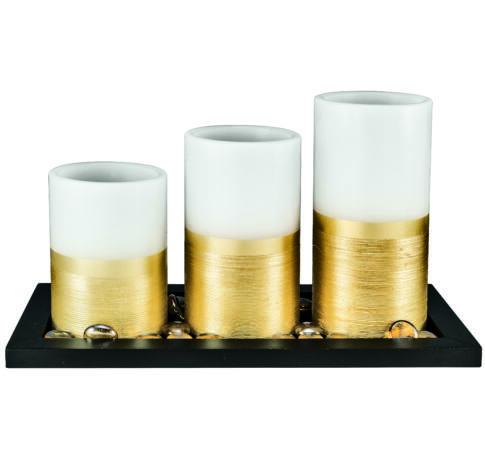 LED-es viaszgyertya szett, Ø7,5cm x 10 cm + 12,5 cm + 15 cm gyertya