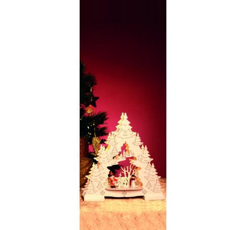 LED-es asztali dísz, karácsonyfa, fehér