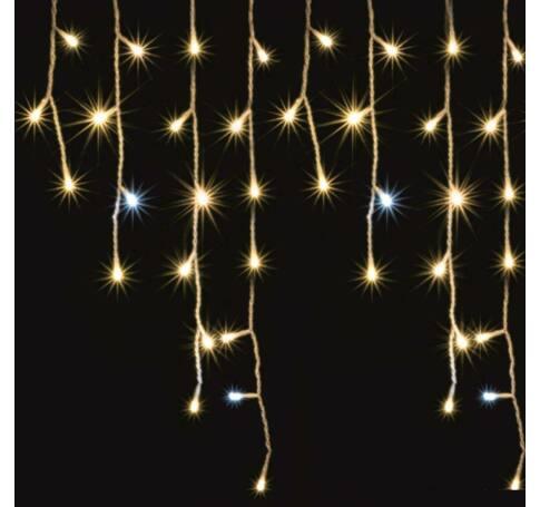 LED-es sziporkázó fényfüggöny, kültéri, 300 db LED (melegfehérek között villogó hidegfehérek)