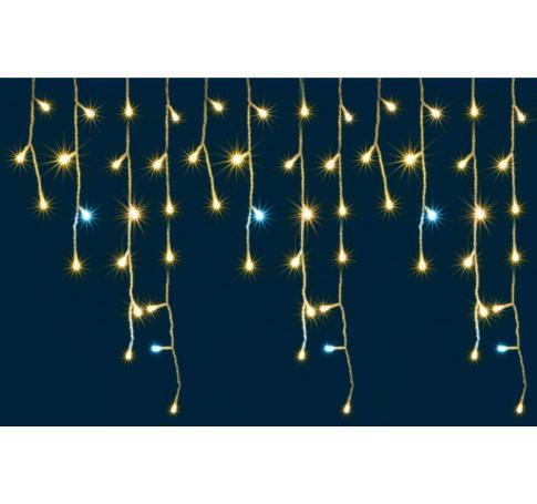LED-es sziporkázó fényfüggöny, kültéri, 600 db LED (melegfehérek között villogó hidegfehérek)