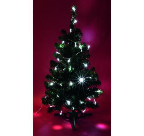 Fehér, 100db-os karácsonyifüzér, LEDes, átlátszó kabellel