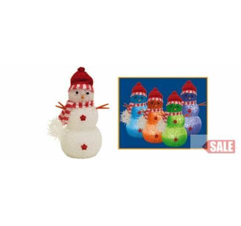 Hóember, színváltó LED-del, 17 cm