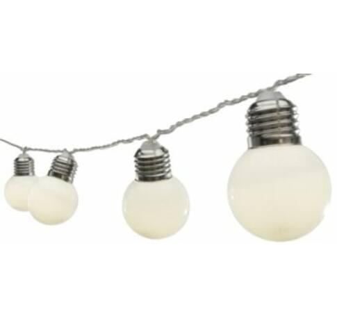 LED-es villanykörte fényfüzér, 20 LED, melegfehér