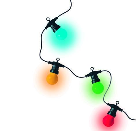 LED kültéri fényfüzér, 10 gömb, 4,5m, színes