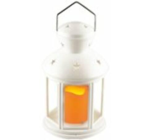 Lámpás, LED gyertyával, fehér, 1 db narancs LED